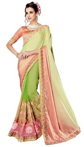 Light Green Half and Half Wedding Saree