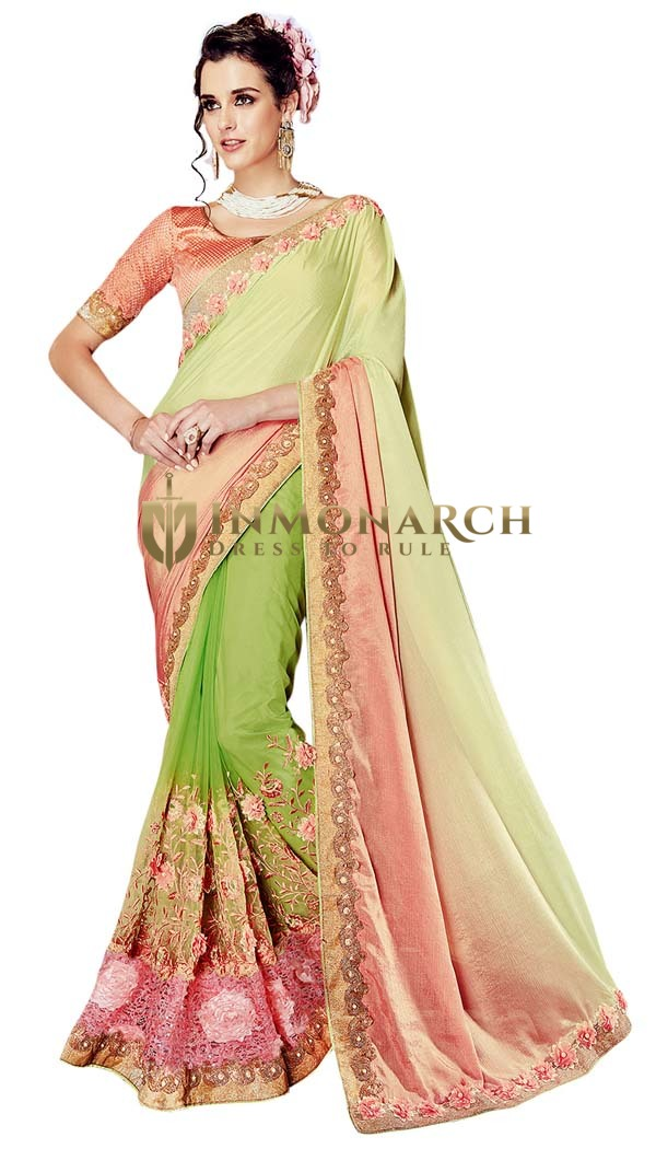 Light Green Half and Half Wedding Saree