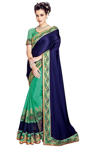 Green and Navy Blue Satin Jacquard Saree