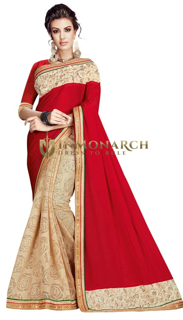 Half and Half Crimson and Beige Saree