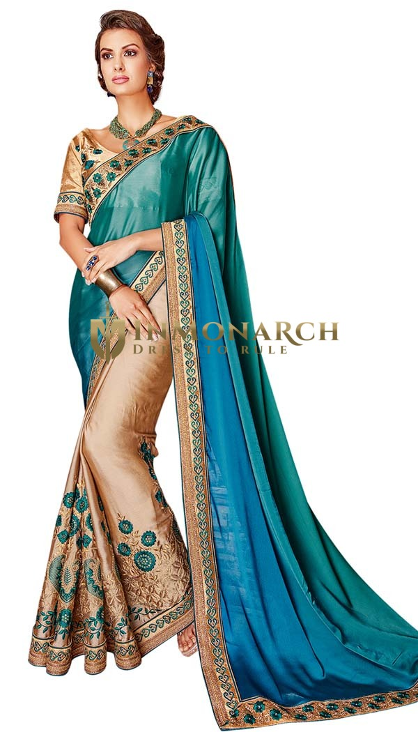Beige and Teal Half and Half Wedding Saree