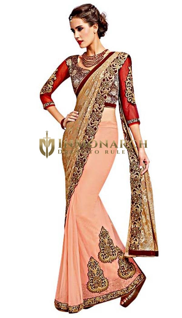 Beige and Peach Net Wedding Saree