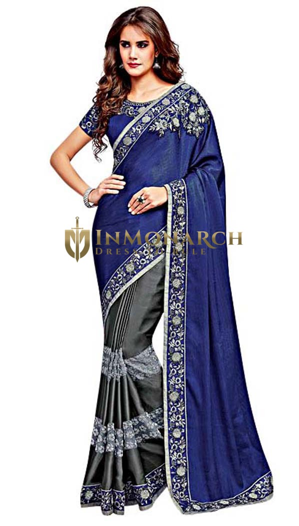 Navy Blue and Gray Silk Georgette Saree