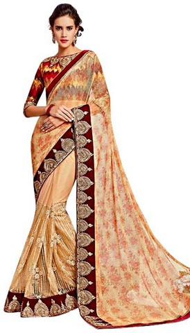 Peach Knitted Net Partywear Saree