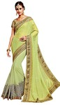 Chiffon and Net Lime Green Bridal Saree