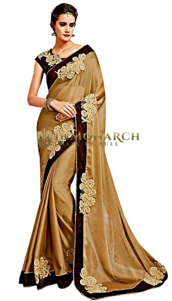 Indian Wedding Beige Georgette Saree