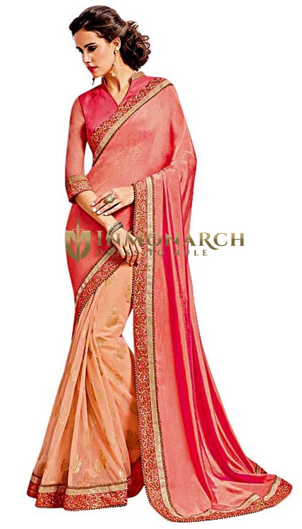 Pink Net and Two Tone Silk Bridal Saree