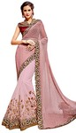 Pink Knitted Net Partywear Saree