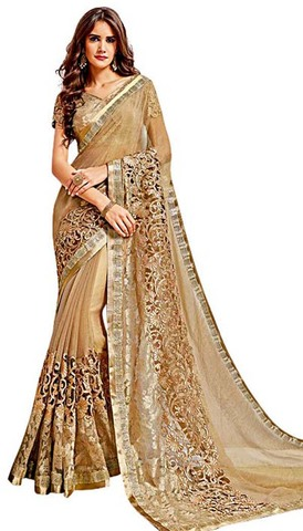 Beige Knitted Georgette Wedding Saree