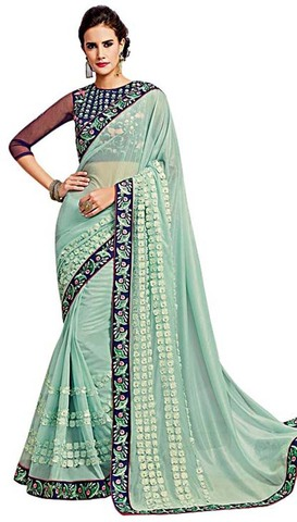 Light Blue Net Designer Bridal Saree