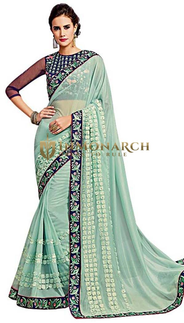 Light Blue Net Designer Bridal Saree