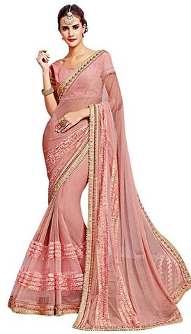 Light Pink Knitted Net Bollywood Saree