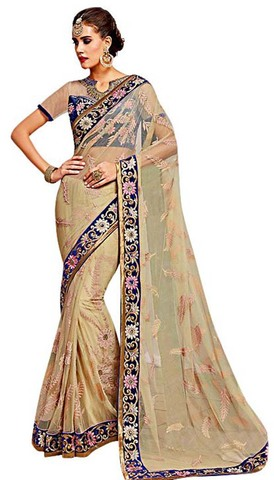 Fashionable Beige Net Wedding Saree