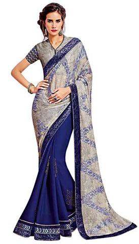 Blue and Gray Chiffon Bridal Saree