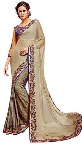 Chiffon and Georgette Beige Bridal Saree