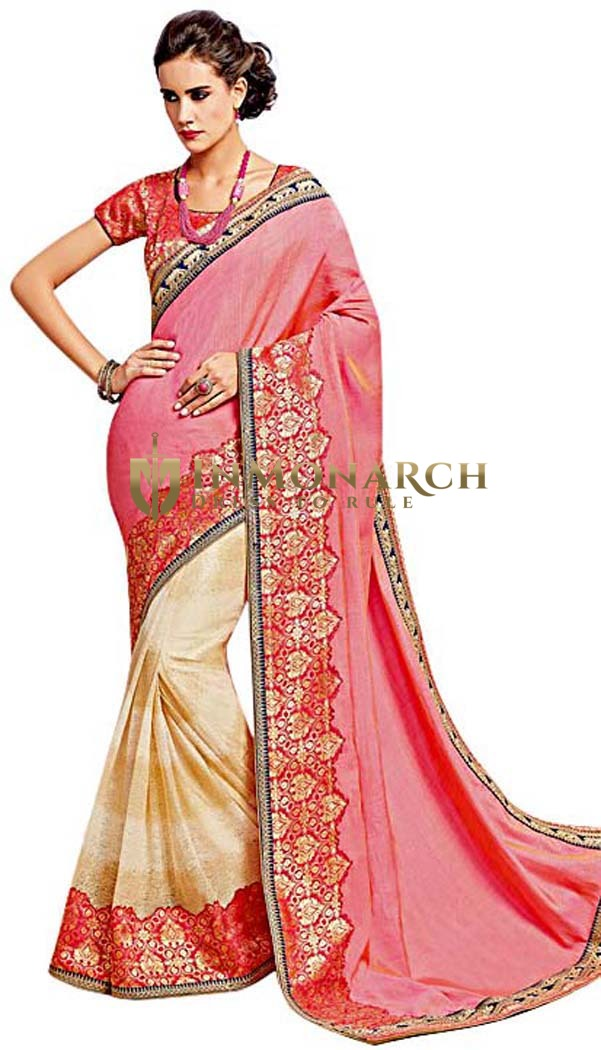 Pink Two Tone Silk Bollywood Saree