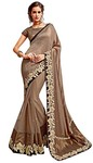 Silk Georgette and Net Brown Wedding Saree
