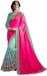 Cyan and Magenta Silk Partywear Saree