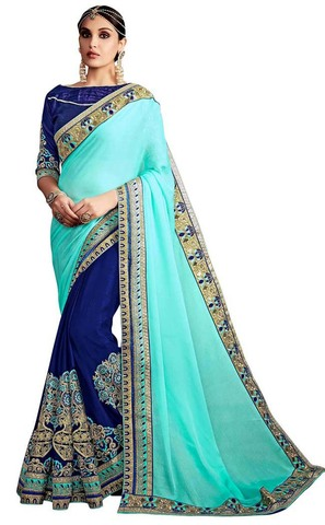 Navy Blue and Turquoise Chiffon Saree