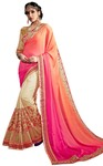 Cream Satin Georgette Bollywood Saree
