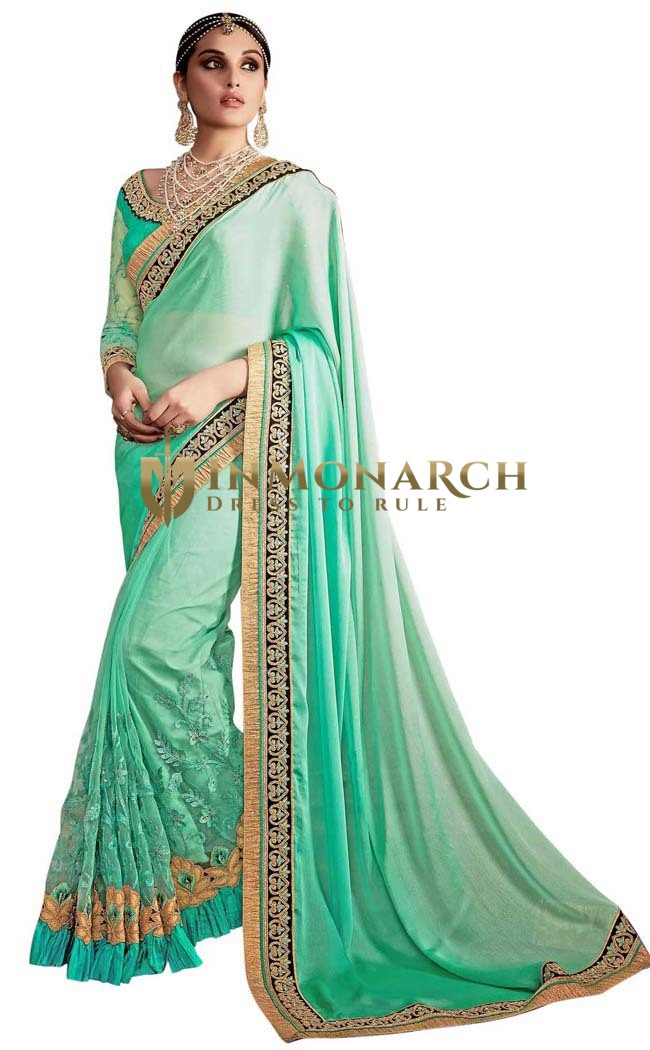 Turquoise Chiffon and Net Wedding Saree
