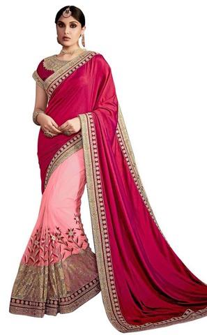 Pink and Maroon Silk Net Partywear Sari