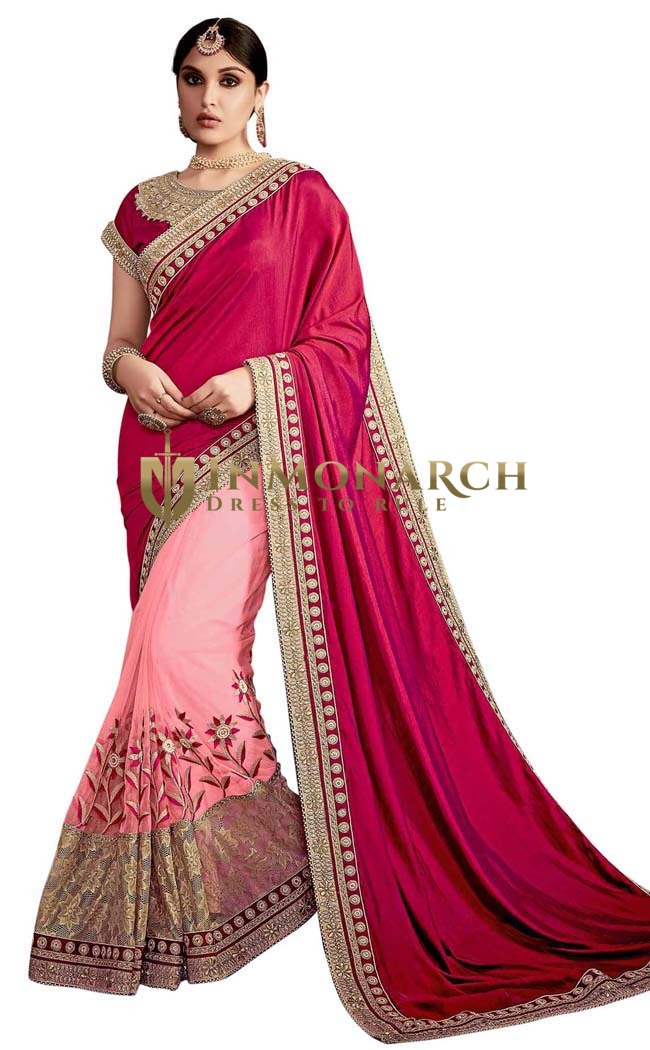 Pink and Maroon Silk Net Partywear Sari