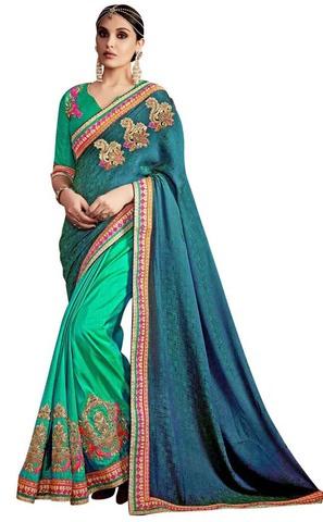 Jacquard Silk Green Wedding Saree