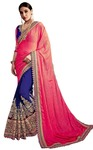 Elegance Navy Blue and Crimson Bridal Saree