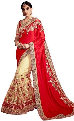 Crimson and Beige Silk Net Bollywood Saree