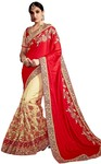 Crimson and Beige Silk Net Bollywood Saree