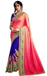 Blue and Pink Silk Georgette Partywear Saree