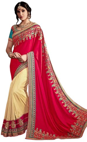 Light Yellow and Crimson Art Silk Bridal Sari