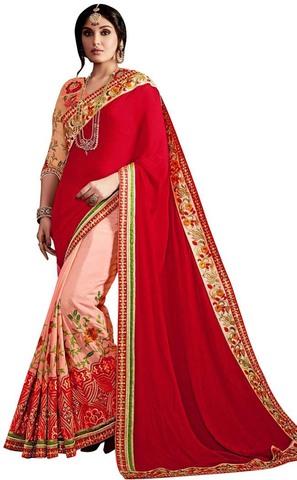 Pink and Crimson Georgette Partywear Saree