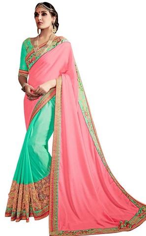 Turquoise and Pink Chiffon Wedding Saree