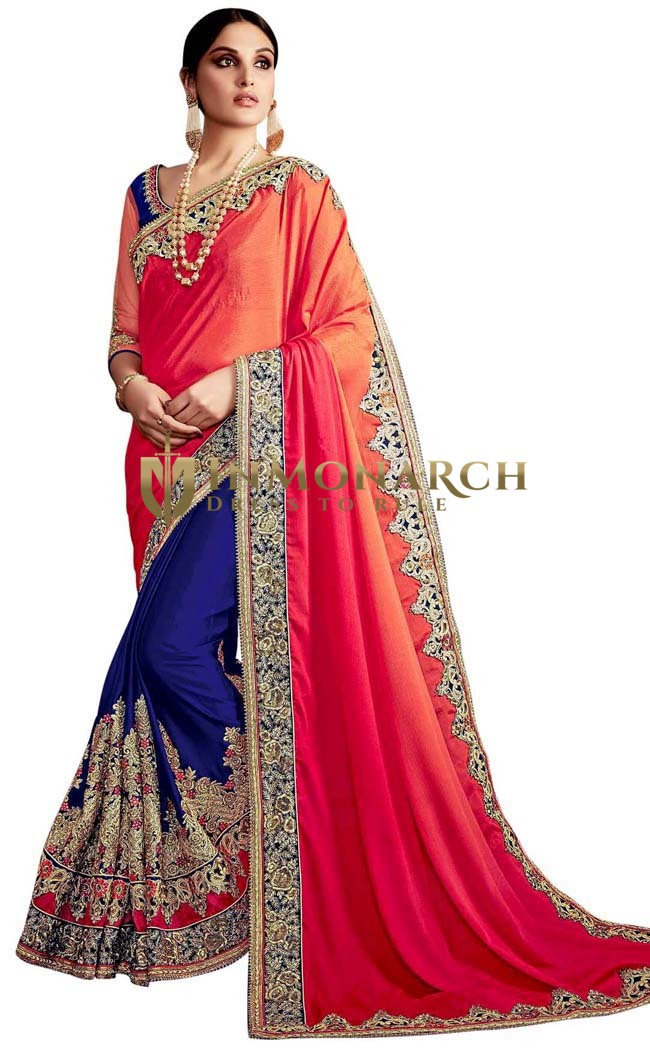 Navy Blue and Crimson Designer Saree