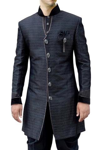Indian Wedding Clothes for Men Black Indo Western Traditional Wedding Sherwani