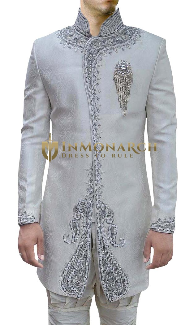 Mens Off White 3 Pc Indo Western Wedding