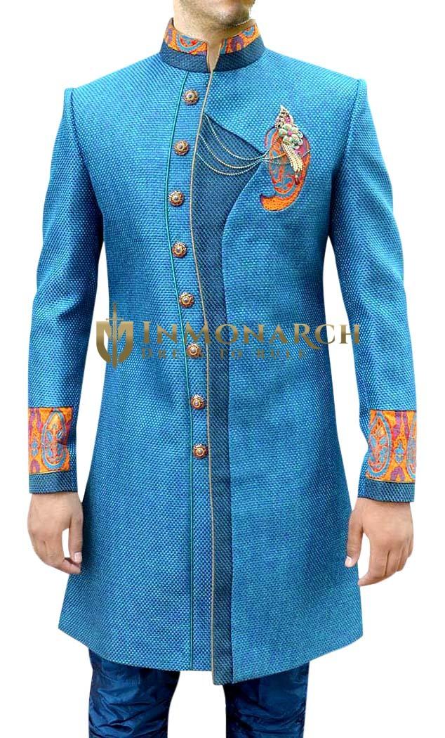 Mens Steel Blue Sherwani Indo Western Partywear kurta for jeans