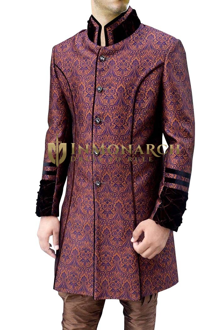 Sherwani for Men Wedding Purple and Orange Indo Western Sherwani