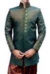 Mens Brocade Teal 2 Pc Indo Western Sherwani