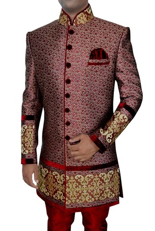 Mens Maroon 3 Pc Indo Western Engagement