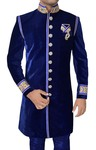 Groom Sherwani for Men Wedding Blue Indo Western Sherwani