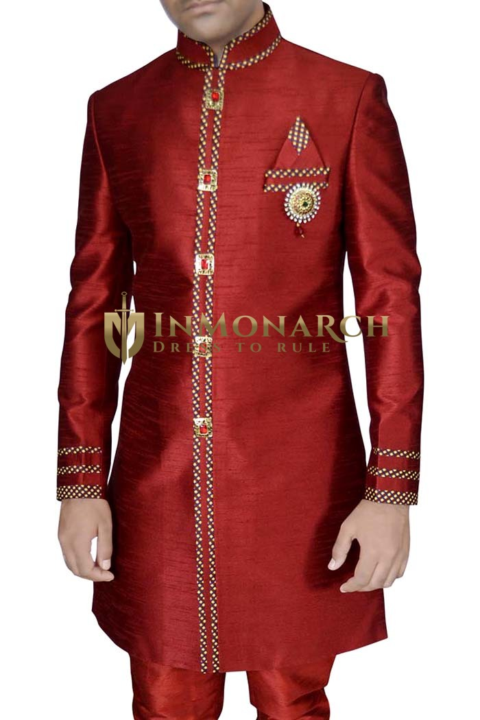 Mens Red Dupion Silk 4 Pc Indo Western Trimmed