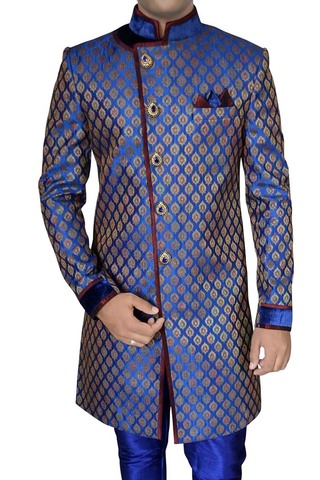 Mens Blue Brocade 3 Pc Indo Western Angrakha