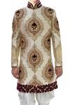 Mens Ivory Indo Western 2 Pc Designer Pattern