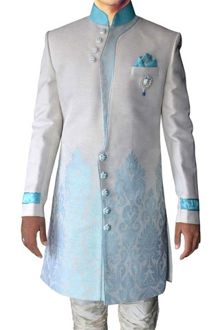 Mens Cream 4 Pc Indo Western Sherwani Threaded