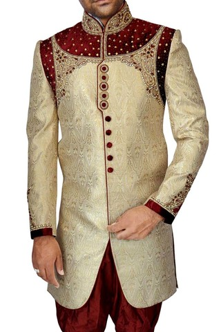 Mens Golden 2 Pc Indo Western Occasional Partywear