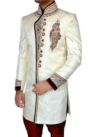 Mens Cream Brocade 2 Pc Indo Western 10 Button