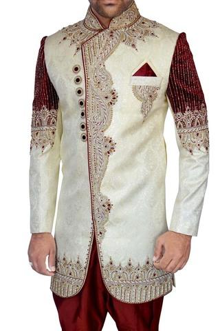 Mens Cream 3 Pc Indo Western Designer
